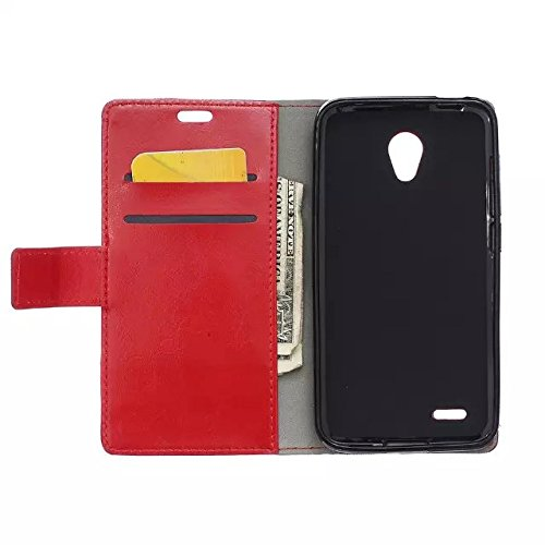Solid Color Craze Pferd Textur Pattern Flip Stand Case Wallet Fall mit Karte Cash Slots für Alcatel Go spielen ( Color : Blue , Size : Alcatel Go Play ) Red