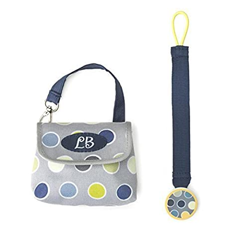 DEMDACO Lillybit Pacifier Pouch and Strap Set, Polka Dot by Nat and Jules