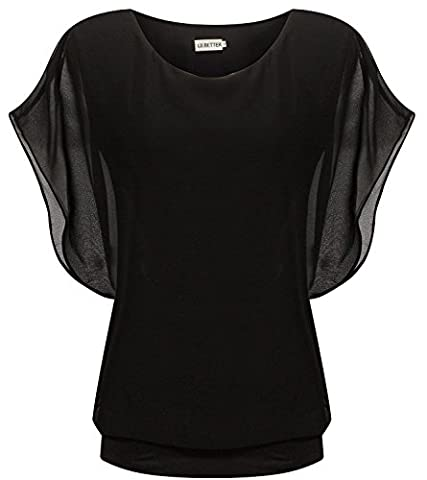 LILBETTER Womens Casual Chiffon Ladies Round Neck Batwing Sleeve Blouse Tops (UK 16,Black)