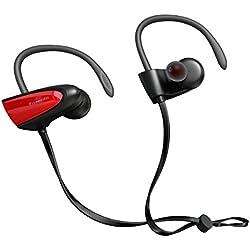 SGIN Auriculares Bluetooth, Inalámbricos Bluetooth V4.2 in-ear Headset Deportes Auriculares Con Micrófono para iPhone,ipad, Android, Windows Smartphones(Rojo) - Fozento