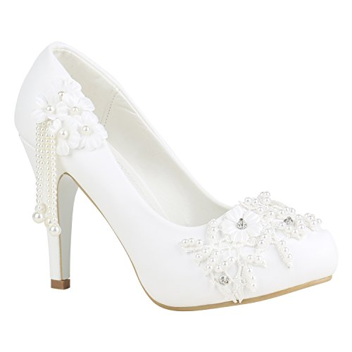 Stiefelparadies Damen Schuhe Pumps High Heels Plateaupumps Lack Stiletto Elegante 156229 Weiss Spitze 39 Flandell
