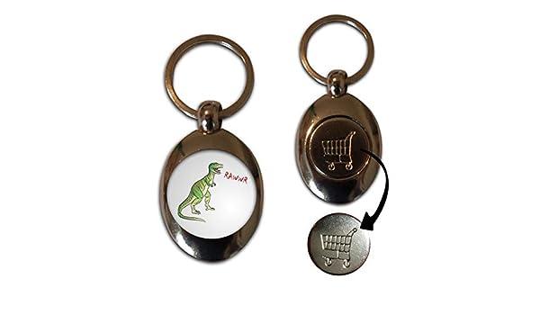 Dinosaur Rawwr! £1//€1 Shopping Trolley Coin Key Ring New