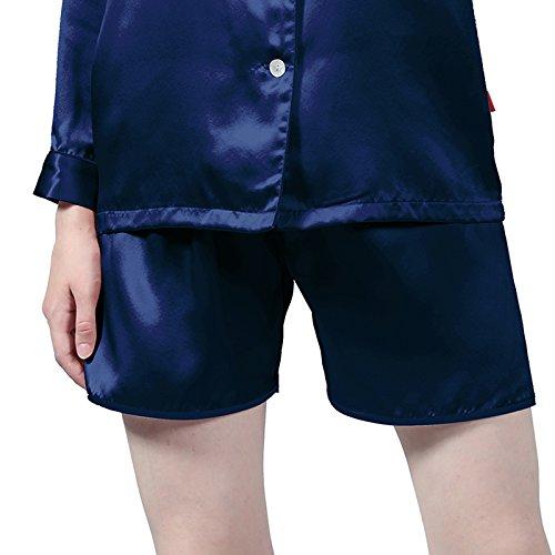 LULUSILK Damen 22 Momme Seide Langarm Nachtwäsche Pyjama Set Schlafanzug Set mit einer Brusttasche Marineblau