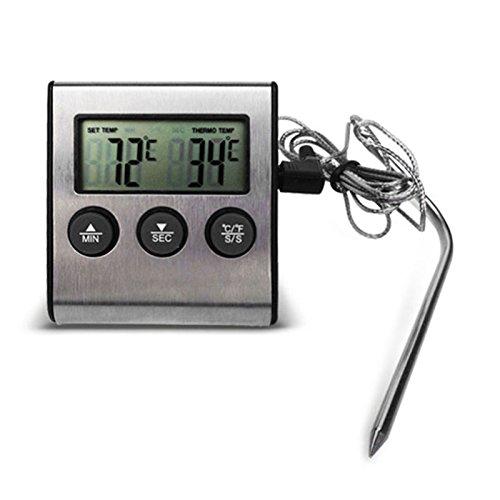 Sforza Digital Edelstahl Küche Kochen Thermometer LCD Ofenthermometer mit Uhr für BBQ Grill Fleisch -