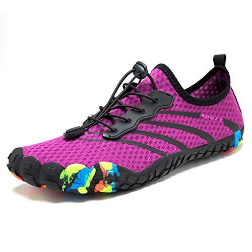 KonJin Barefoot Water Shoes Mens Womens Quick Dry Sports Aqua Shoes Lightweight Durable Sole Beach Swim Drawstring Creek Diving Shoes - Gore Stretch-heels