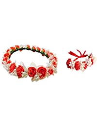 Loops n knots Red & White Floral Tiara/Crown With Wrist Band/Puff Wrap For Girls & Women-Combo Pack