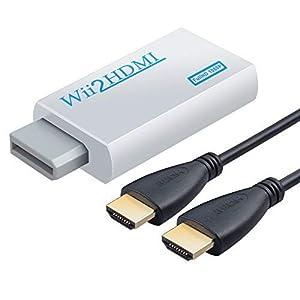 1080P Wii HDMI Adapter Wii zu HDMI Konverter +3.5mm Klinke Ausgang aus mit 1m HDMI Kabel unterstützt NTSC/PAL Format für Smart TV HDTV Weiße