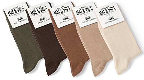 Mat and Vic's Cotton Classic Socken, 5 Paar (43-46, Earth Colors - beige braun creme oliv-grün)