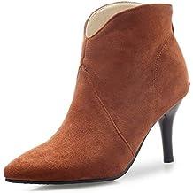 e6f4b7df81d96 OALEEN Bottines Femme Hiver Bout Pointu Talon Aiguille Effet Daim Chaussures  Boots Fourrées