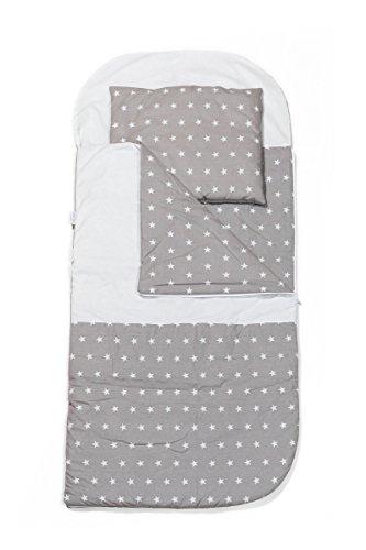 KempKids. Set di Sacco a Pelo + Cuscino per Bambini in età Prescolare Stuoia del Nap Sacchetto di Sonno Taglie: Sacco a Pelo 115 x 70cm Guanciale 35 x 70 cm Stella Grigia