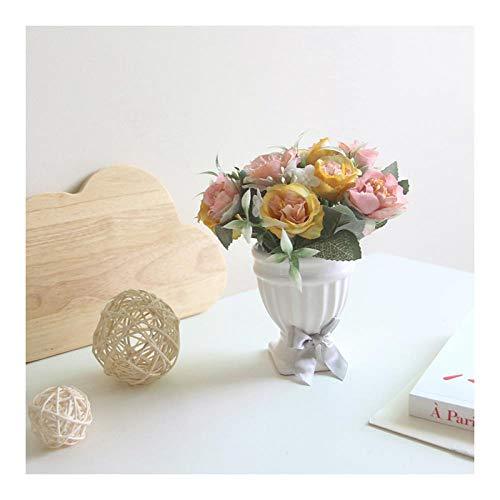 MSSZH Künstliche Blume Hibiscus Rose Römische Tasse Bonsai EIN Satz Topfpflanze Home Decoration Hochzeitsdekoration, Gelb + Becken, 20Cm - Hibiscus Topfpflanze