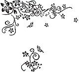 EmmiJules Wandtattoo Wohnzimmer Blumenranke mit Schmetterling Ornament TV-Wand Fernsehwand Ranke Flur Schlafzimmer Wandaufkleber Wandsticker Ornament