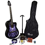 Lindo 933 C Alien violett Akustik Gitarre & Full Accessory Pack (Gigbag Tasche, Ständer, Saiten, Gurt, 10 Plektren, DVD, Stimmgerät)