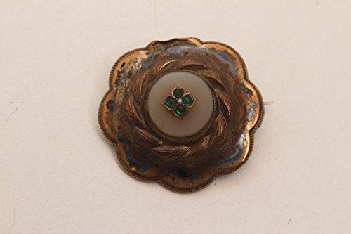 vintage13.de Schöne Antike Brosche 4 Kleine Grüne Steine Vergoldet Schaumgold Biedermeier
