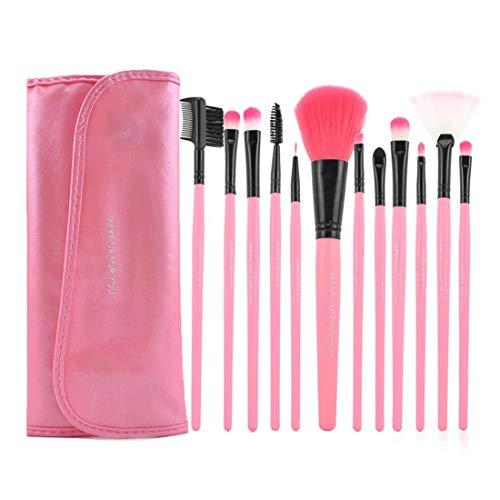 Chenqi Kit Pinceaux Maquillage Pour 12PCS Avec étui Portefeuille Style Rose