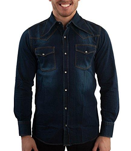 70er Jahre Jeans Hemd Retro Hippie Look XL (Retro Western-hemden Für Männer)