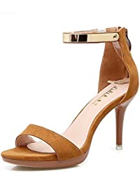 QXH Zapatos de Mujer Sandalias Boca Superficial de Tacón Alto de Cabeza Redonda Hebilla del Cinturón