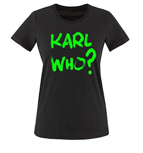 Liebe Fußball-mütter, T-shirt (Comedy Shirts - KARL WHO? - Damen T-Shirt - Schwarz / Neongrün Gr. XXL)