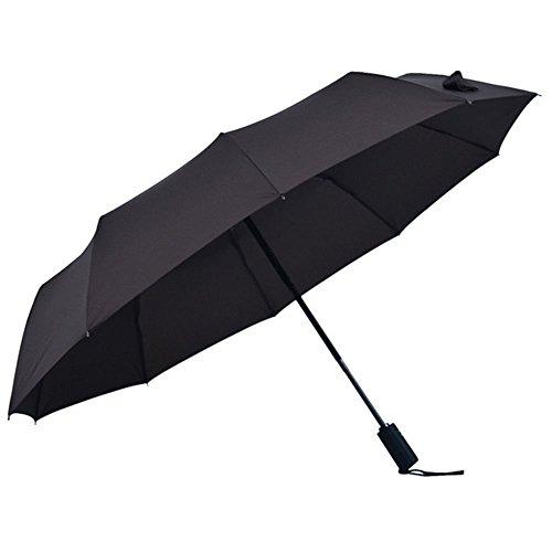 fucailai Reise Regenschirm Compact Auto öffnen und schließen 60MPH winddicht 8Rippen Automatische Golf Regenschirme für Damen und Herren, Schwarz