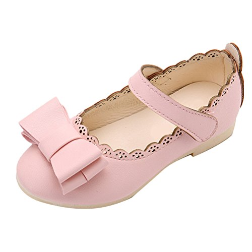 Zhuhaitf Haute qualité Children Party Comfortable Shoes Girls Butterfly-knot Princess Shoes pink