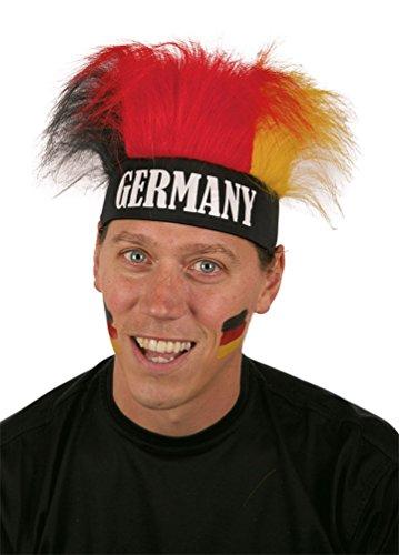 erücke Deutschland schwarz rot gold Deutschland-Perücke mit Stirnband Damen Herren WM 2018 Kostüm Perücke Stirnband Fan Deutschland EM 2016 Zubehör (Schwarze Und Rote Kostüme Perücke)