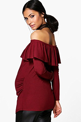 Noir Femmes Maternity Sarah Off The Shoulder Ruffle Ribbed Top Noir