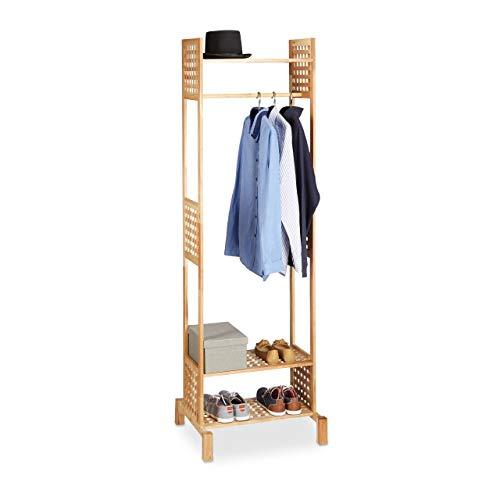 Relaxdays Garderobenständer Walnuss-Holz, Kleiderständer freistehend, Flurgarderobe braun, HxBxT 190 x 60 x 50 cm, natur