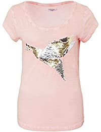 SUBLEVEL Damen Shirt mit Wendepailletten & Vogel Motiv | Elegantes Basic T-Shirt