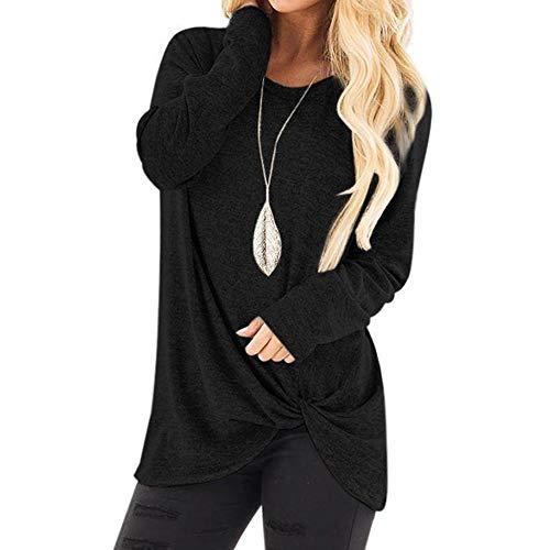 LUGOW Langarmshirt Damen O-Ausschnitt Sweatshirt Langarm Basic Longshirt Rundhals Uni T-Shirt Lose Bluse Long Sleeve Tops T Shirt Damenmode Bluse Pullover(XX-Large,Schwarz A)