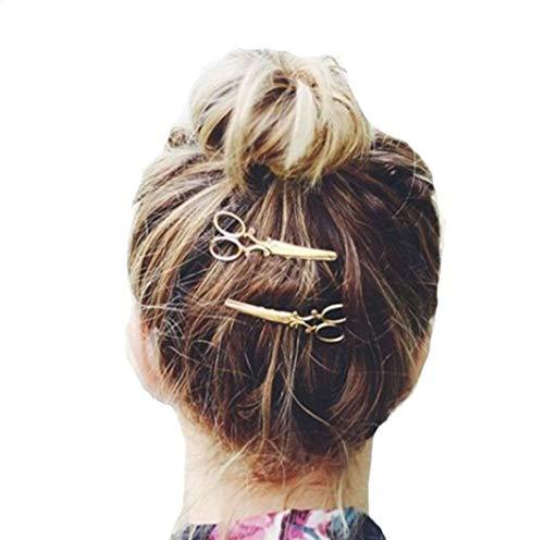 Amyline Klaue Clips, Haarklammern Haarspangen Haargreifer Vintage Einfache Unregelmäßige Rutschfeste Haarnadel Haar Zubehör Für Frauen - Schere Stil (Gold)