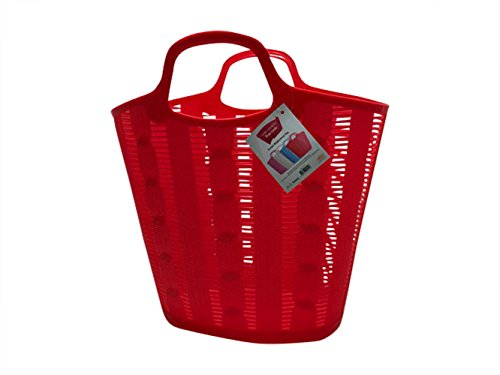 Flexible Large Multi-Purpose Plastic Shopping Basket - General Use Reusable Shopping Bag (Red)
