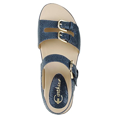 Earthies Verdon Lackleder Sandale Denim Blue