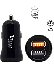 Syska Dual Car Charger with Micro USB Cable (Black)