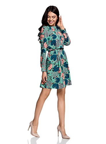 oodji Collection Damen Viskose-Kleid mit Gürtel Grün (6D41F)