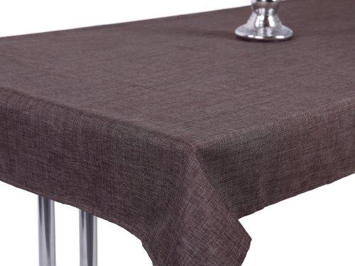 Mantel aspecto de lino, Lotus Efecto, impermeable,, antimanchas, 135x 180ovalado en marrón...