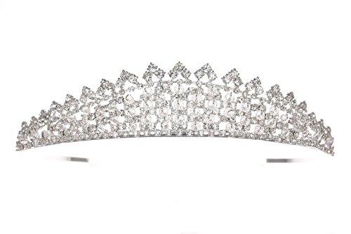 Venus Jewelry Tiara brillante de boda de cristal de Rhinestone para mujer Plateado