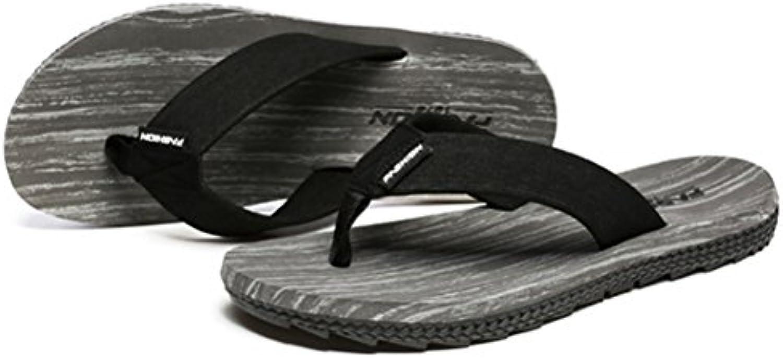 Chancletas Hombre Temporada de verano Sandalias de pellizco Antideslizante Personalidad Grano de madera Sandalias  -