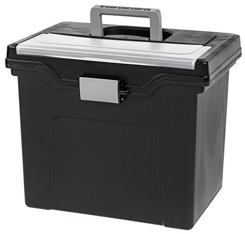 Iris Buchstabe Größe tragbare Datei Box mit Organizer Deckel, schwarz (Datei-boxen Mit Deckel)