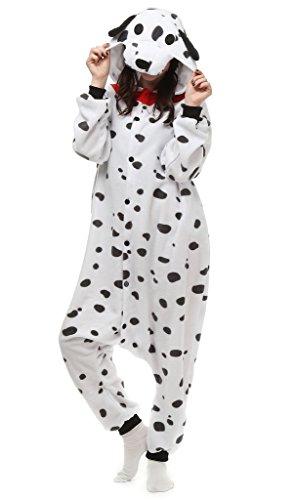 Für Kostüme Dalmatiner Frauen Halloween (Auspicious beginning Unisex-adult Dalmatiner Kostüm Tier Schlafanzüge Pyjama Freizeitkleidung)