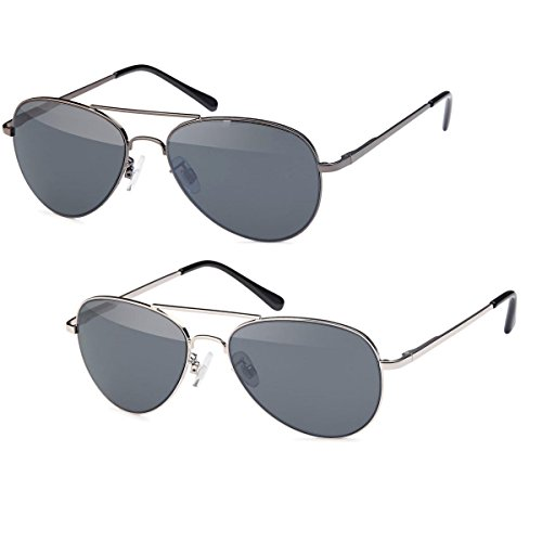 2x Sonnenbrille Pilotenbrille Set Aviator Unisex Klassiker Sonnen Brille graue Gläser -PL02 (SET)