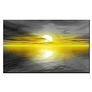 Lynxart Art Canvas Original 71 Rare New Yellow Grey Large Beach Canvas framed ready to hang. Abstract giclee artwork home office living room kitchen bedroom colour Handmade Sunset