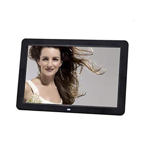 NINI Digitaler Fotorahmen Lithium-Akku 12-Zoll Wide HD LED Multifunktionswerbemaschine Elektronisches Album Weiß und Schwarz,Black