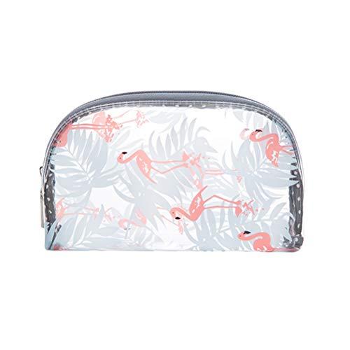 Lurrose Trousse à maquillage transparente Motif flamant rose étanche Demi-cercle Trousse de rangement pour maquillage Taille S