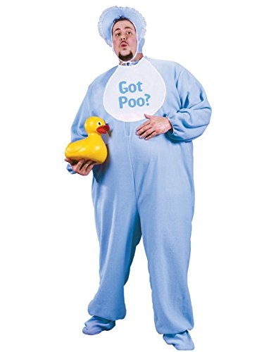 �m für Herren Humorvolle-Verkleidung Blau-Weiss XXL (Adult Baby Blau Baby Kostüme)