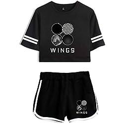 BTS Wings Album Set de Dos Piezas + Pantalón Corto Set Summer Cotton Pantalón de Rayas BTS Shorts de Ombligo Expuesto Fanáticos Sets Rap Monster Jung Kook Sets