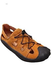 GUOPIN Sommer Leder Sandalen Herrenmode Strand Schuhe Matte Bequeme Baotou Handgemachte Schuhe