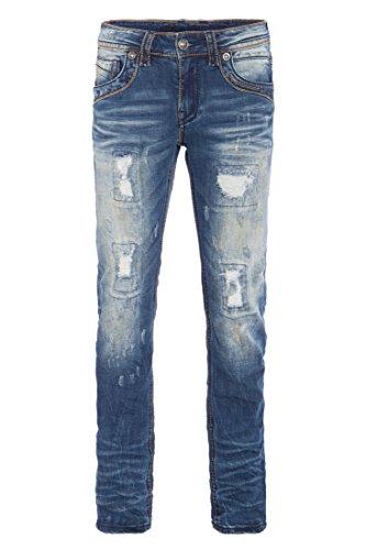 BLUE MONKEY 5 pocket slim fit Jeans in heavy used Optik Brad 4357 Herren Slim Fit Casualmode 1001313