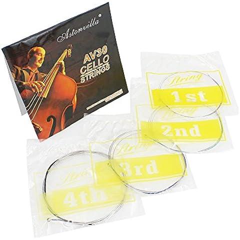 vyage (TM) Hot vendita 4pcs Muta di corde per violoncello c-g-d-a Steel Core Nickel Argento Wound Exquisite Strumento a Corde parti accessori