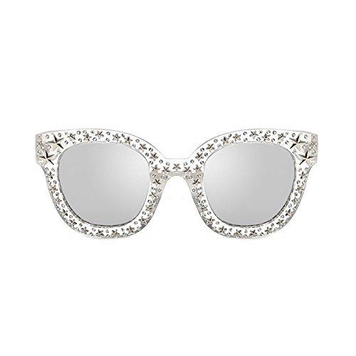 ZHANGYUSEN 2018 rosa Strass Sonnenbrille Star Frauen Unisex Braun Gläser Weiß Schwarz quadratischen Rahmen Schattierungen, transparent Silber