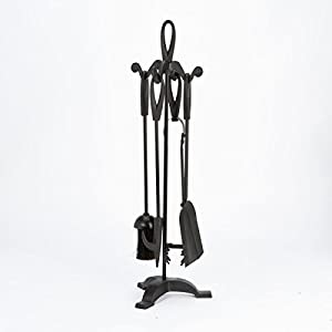 **FREE DELIVERY**LESS THAN HALF PRICE** Inglenook Superior Cast Iron Five 5 piece Black Chrome Pewter Brass Nickel Hearth Fireside Tools Fireplace Companion Set Tongs Poker Shovel Brush Holder Stand Accessories PERFECT FOR ALL ROOMS AND FIREPLACE SETTINGS
